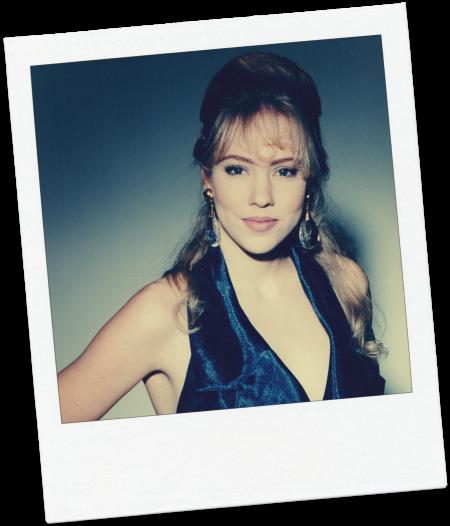 Kim-modeling-dress-polaroid-1